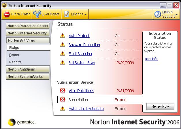 Expired Norton Antivirus